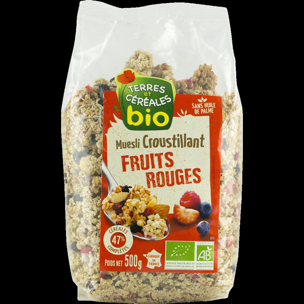 Muesli croustillant aux fruits rouges BIO, Terre & Céréales (500 g)