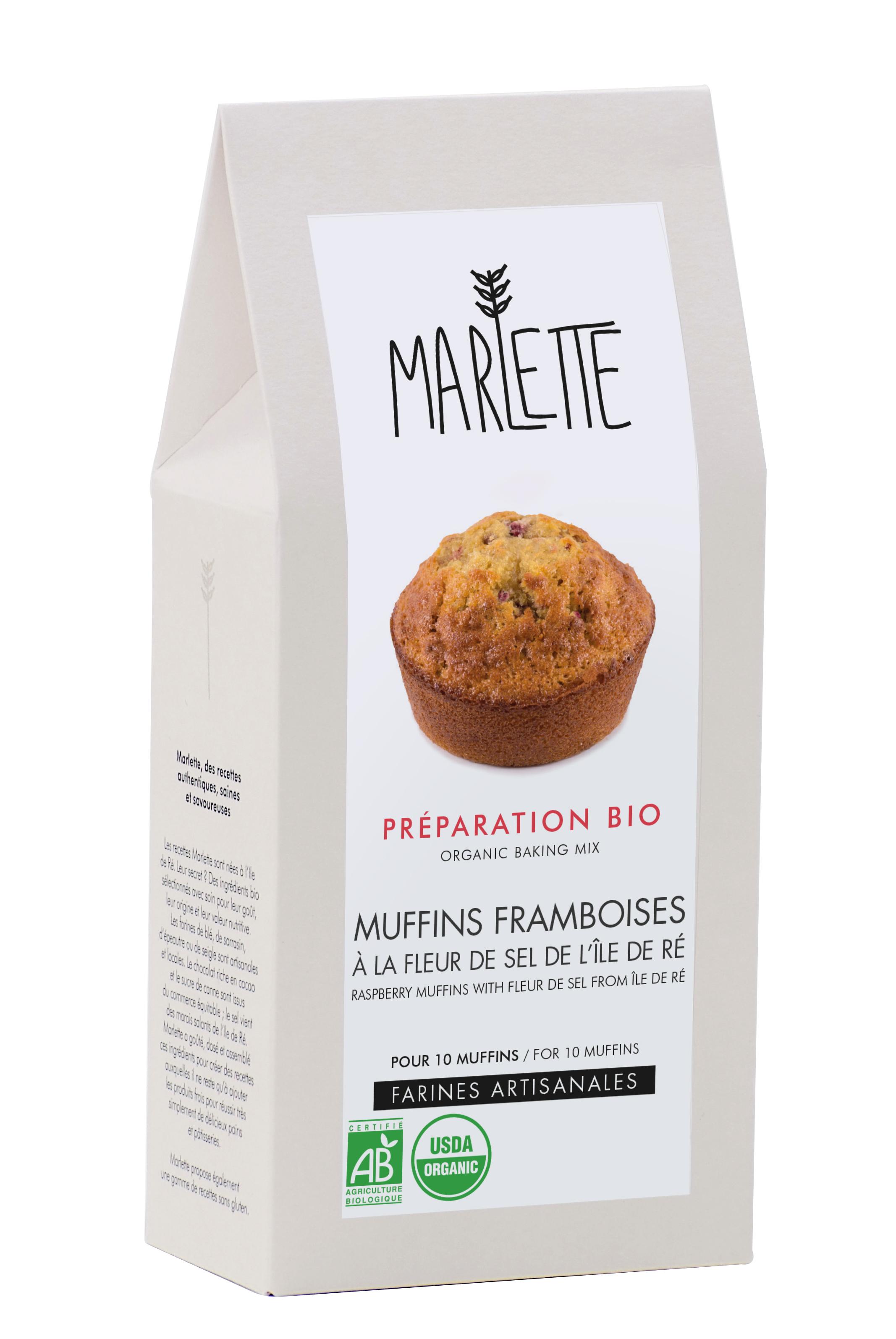 """Préparation """"Muffins framboise à la fleur de sel de l''île de Ré"""" BIO, Marlette (340 g)"""