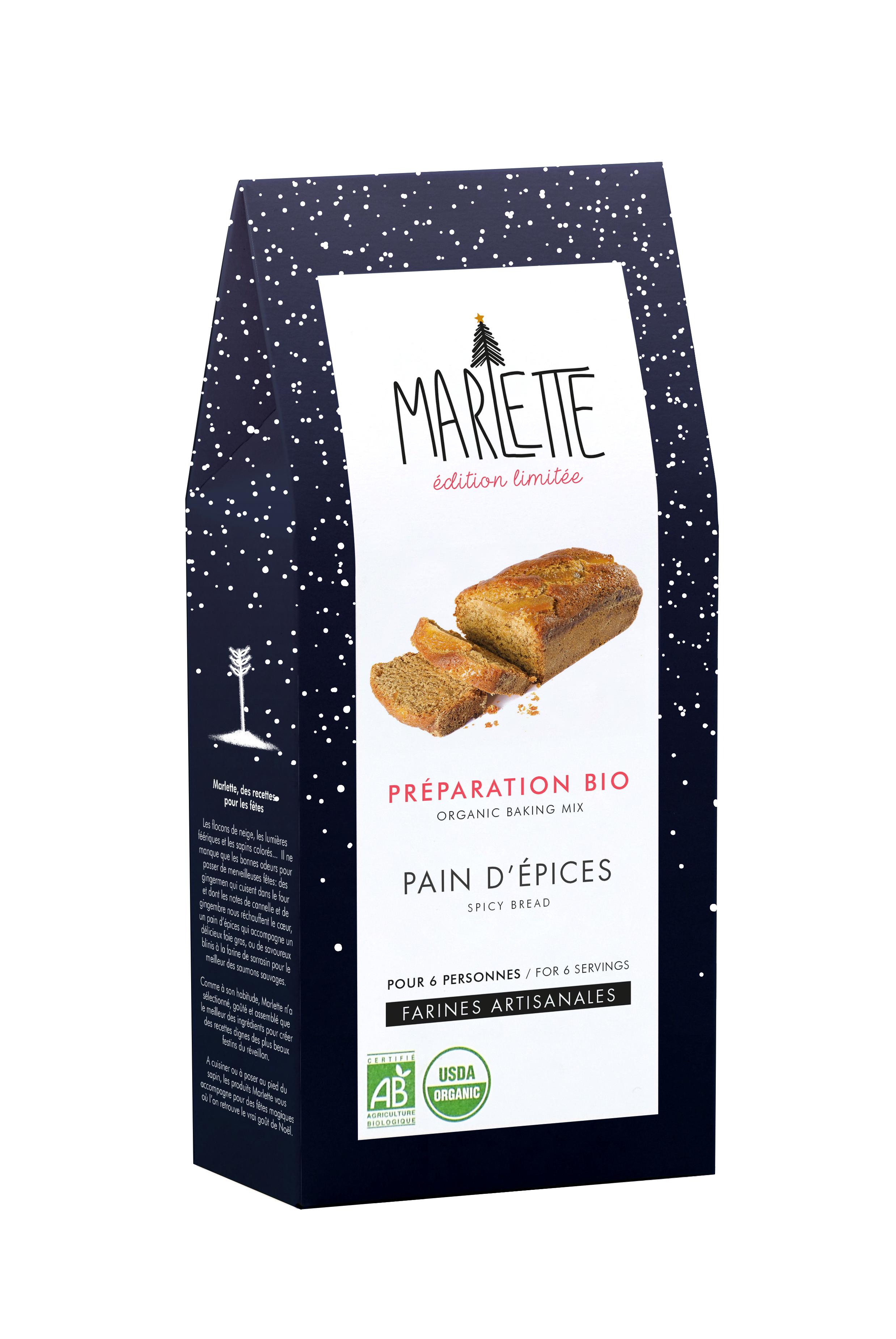 """Préparation """"Pain d'épices de Noël"""" Bio, Marlette / édition Noël"""
