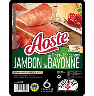 Tranches fines de Jambon de Bayonne, Aoste (6 tranches, 100 g)