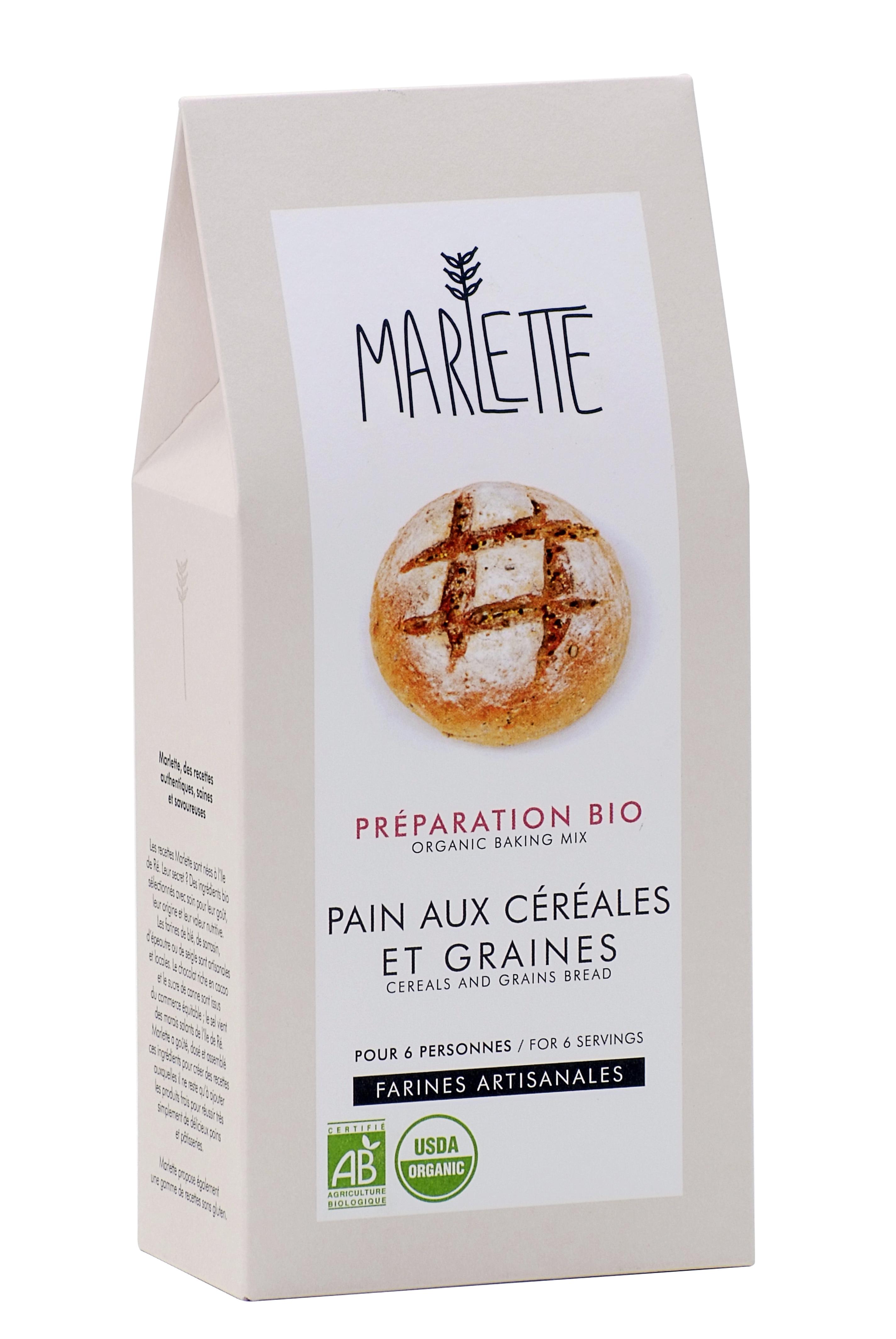 """Préparation """"Pain aux céréales et graines"""" Bio, Marlette"""