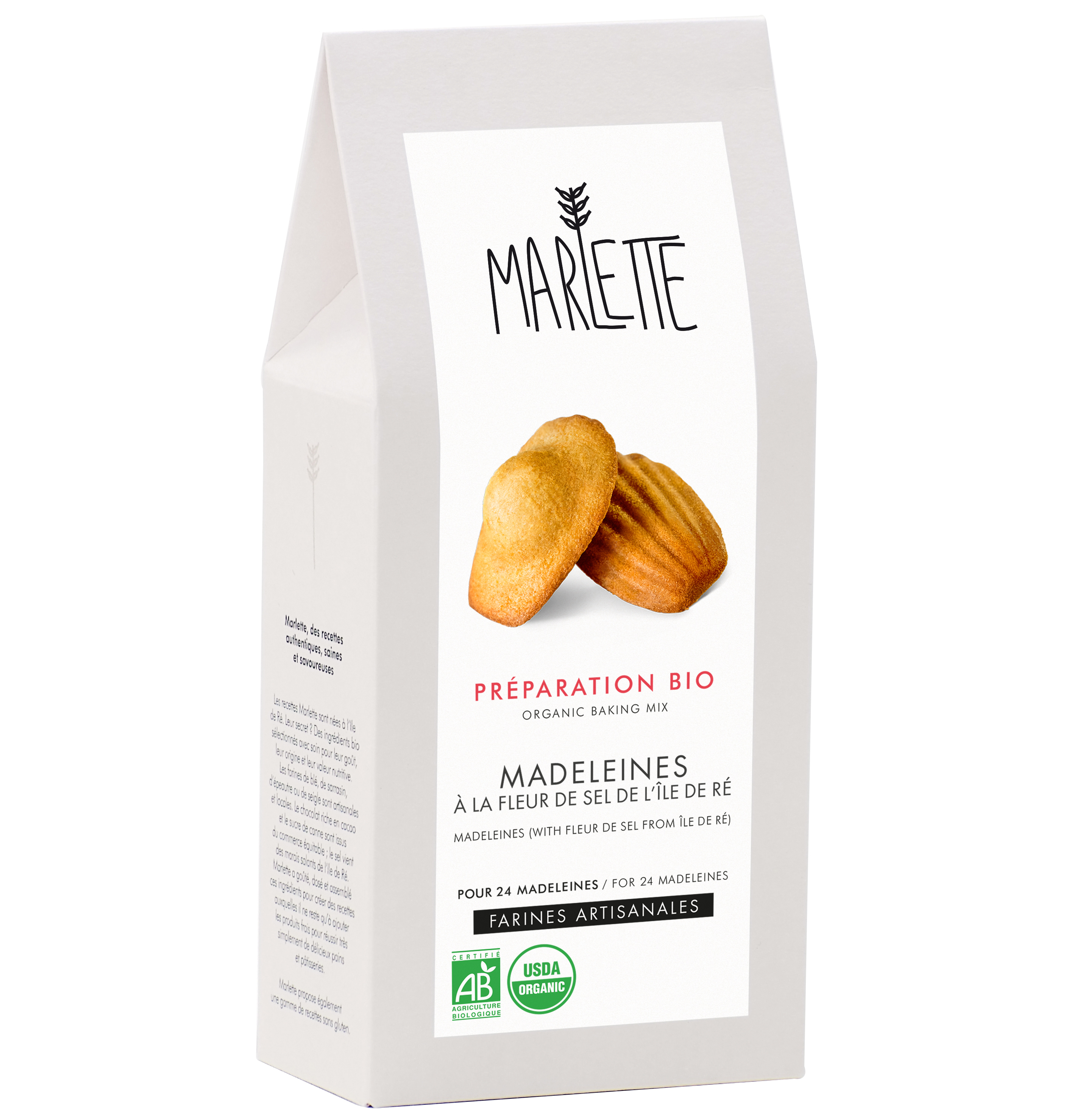 """Préparation """"Madeleines à la fleur de sel de l'île de Ré"""" Bio, Marlette"""