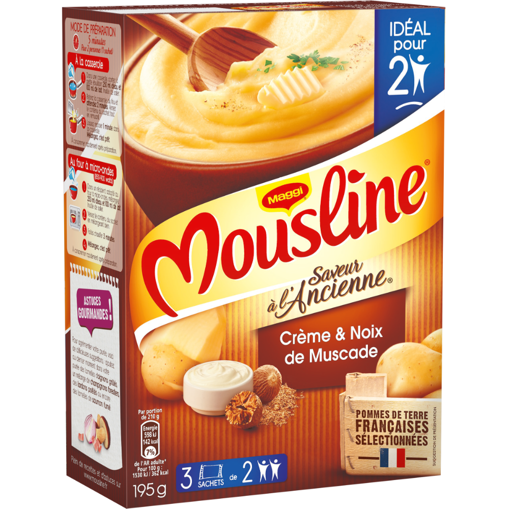 Purée à l'ancienne crème et pointe de noix de muscade Mousline, Maggi (3 x 65 g)