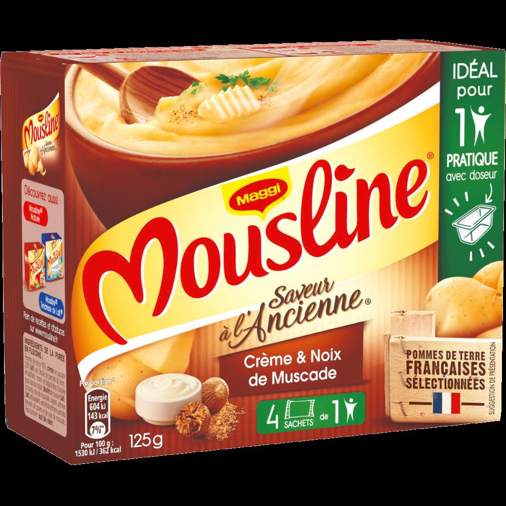 Purée à l'ancienne crème et pointe de noix de muscade Mousline, Maggi (4 x 31,25 g)
