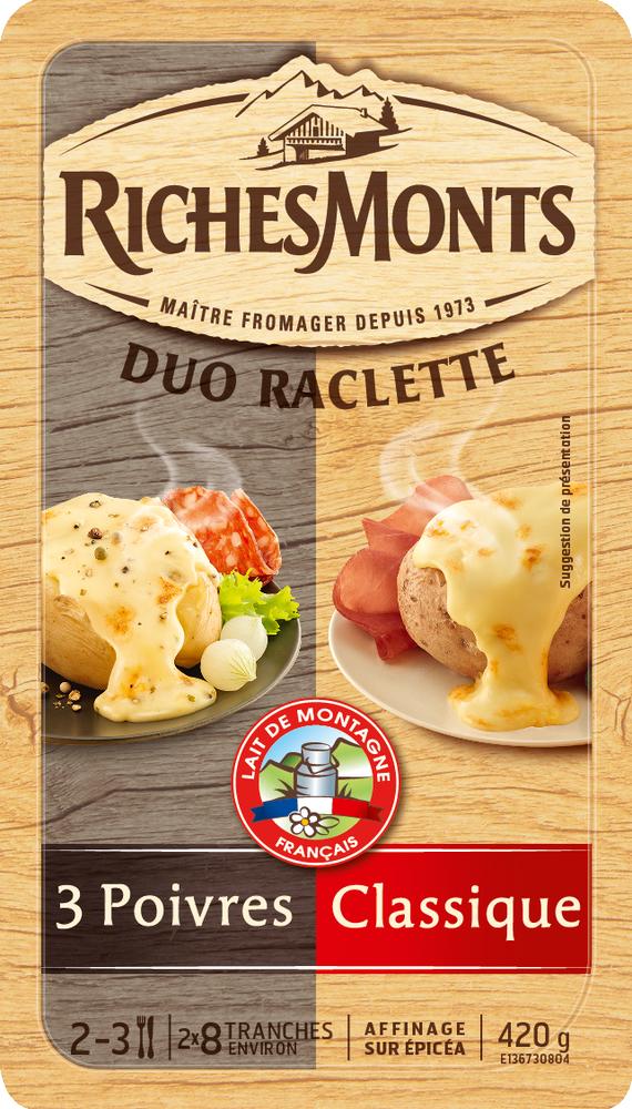 Raclette au lait pasteurisé duo classique-3 poivres, RichesMonts (16 tranches, 420 g)