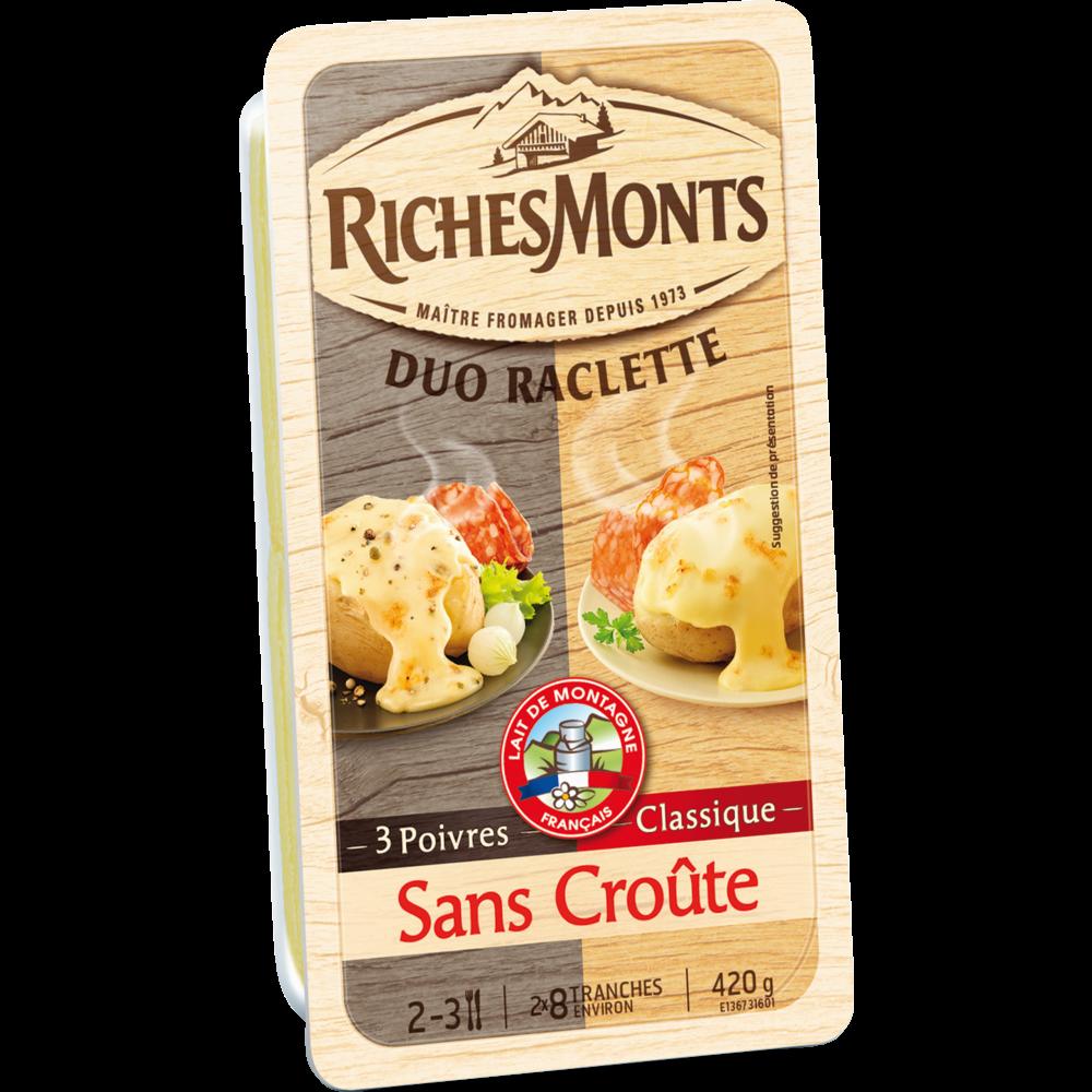 Raclette au lait pasteurisé duo classique-3 poivres sans croûtes, RichesMonts (16 tranches, 420 g)