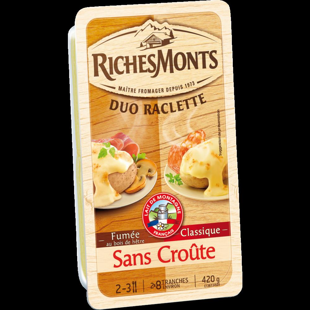 Raclette au lait pasteurisé duo classique-goût fumé sans croûte, RichesMonts (16 tranches, 420 g)