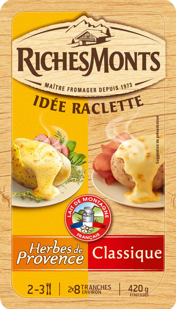 Raclette au lait pasteurisé duo classique-herbes de provence, RichesMonts (16 tranches, 420 g)