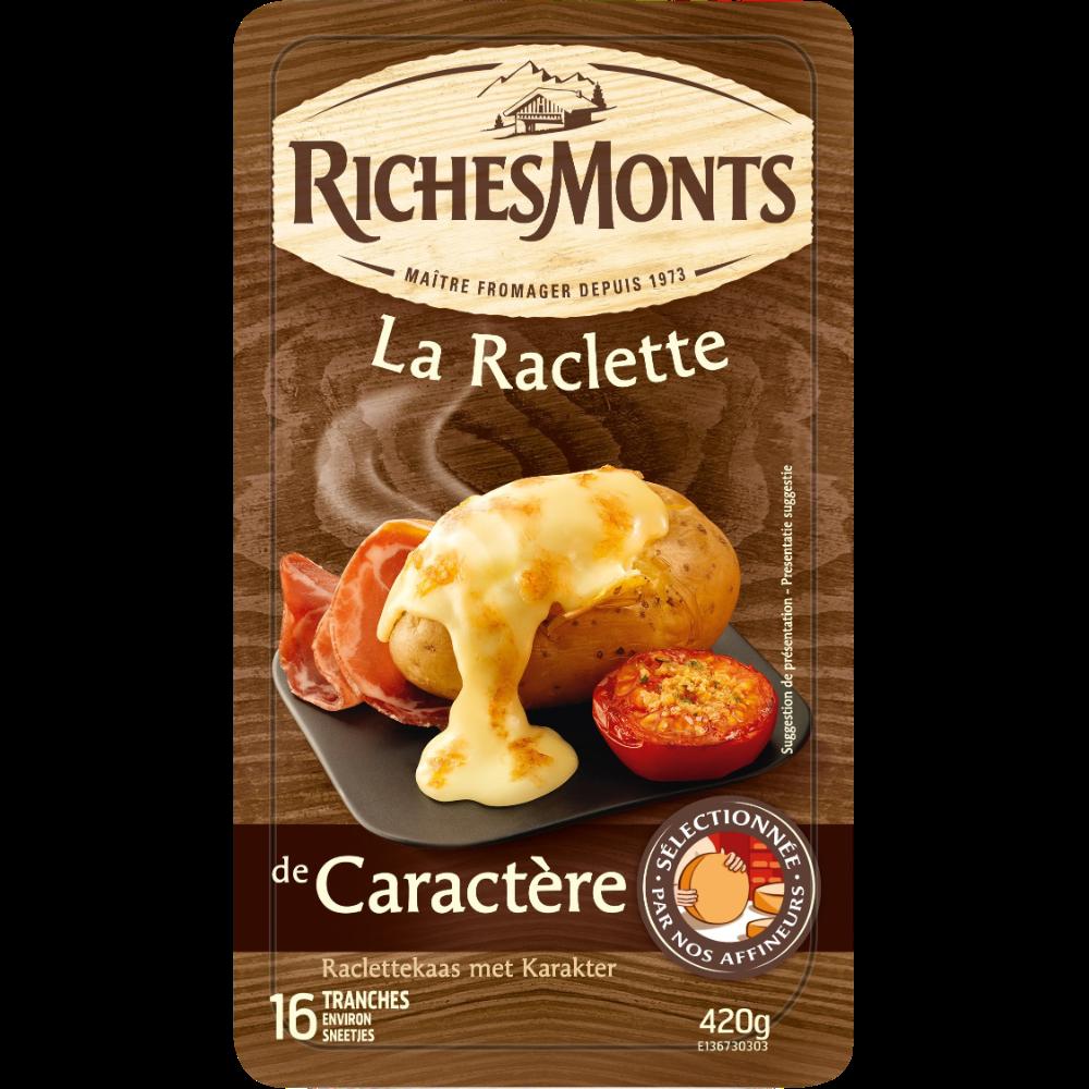 Raclette de caractère au lait de montagne pasteurisé, RichesMonts (16 tranches, 420 g)