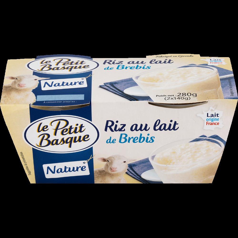 Riz au lait de brebis nature, Le Petit Basque (2 x 140 g)