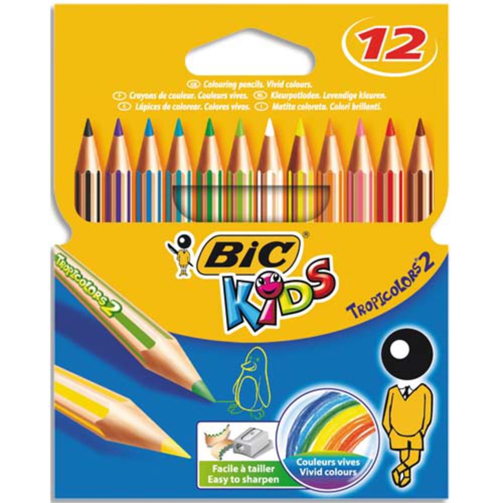 Crayons de couleur, Bic (pochette de 12)