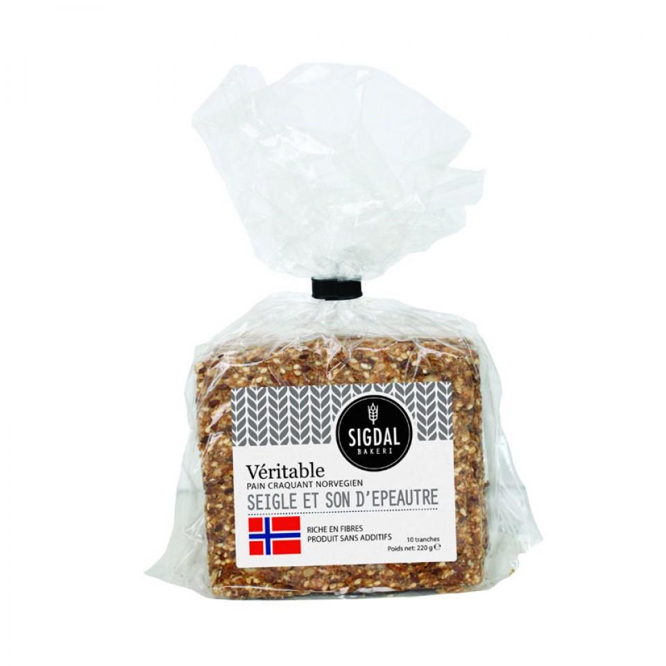 Pain craquant Norvegien - Seigle et son d'épeautre, Sigdal Bakeri (220 g)