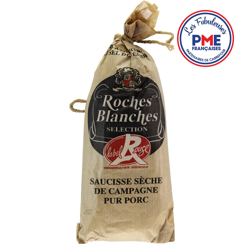 Saucisse sèche pur porc Label Rouge, Roches Blanches (200 g)