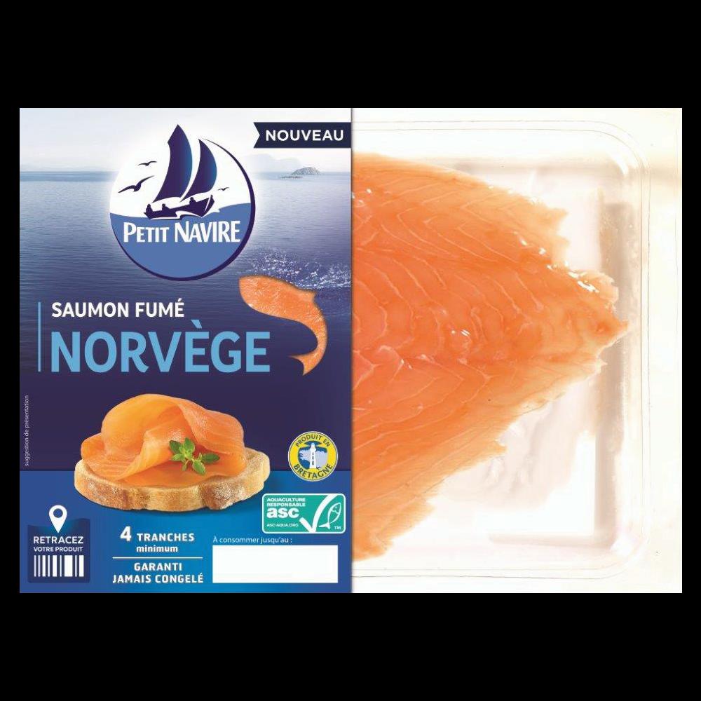 Saumon Atlantique élevé en Norvège fumé, Petit Navire (4 tranches, 120 g)