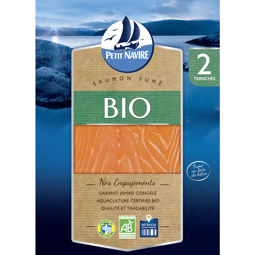 Saumon Atlantique fumé BIO, Petit Navire (2 tranches, 70 g)