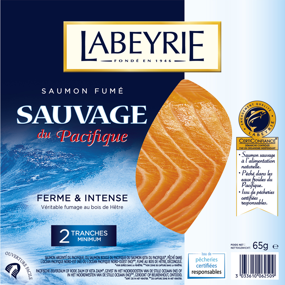 Saumon fumé sauvage, Labeyrie (2 tranches, 65 g)