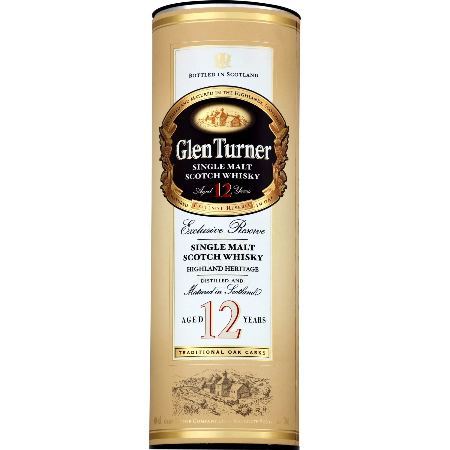 Scotch whisky single malt 12 ans d'âge, Glen Turner (70 cl)