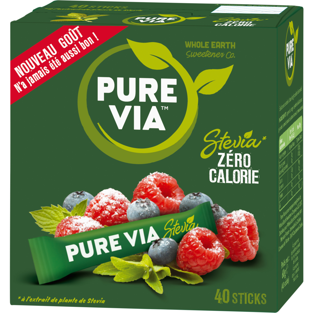 Stevia en sticks, Pure Via (x 40, 60 g)