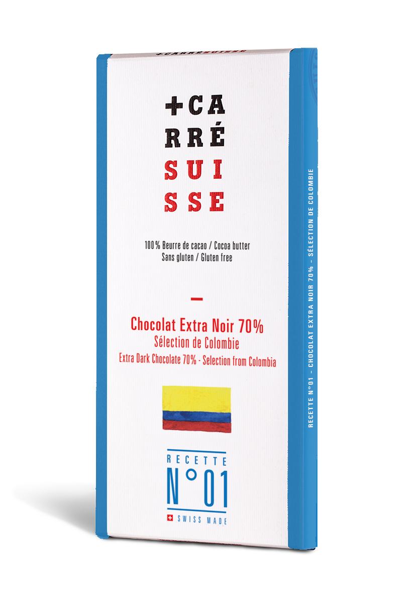 Chocolat extra noir sélection du Colombia 70% - Recette N°01, Carré Suisse (100 g)
