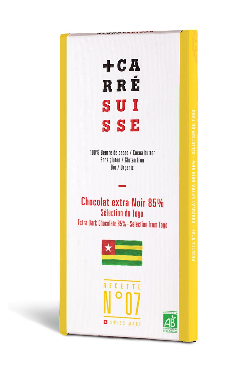 Chocolat extra noir du Togo 85% BIO, Carré Suisse (100 g)