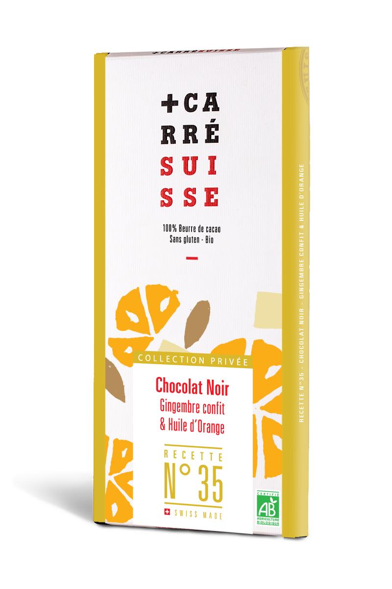 Chocolat noir 71% Gingembre confit et huile d'orange BIO  - Recette n°35, Carré Suisse (100 g)