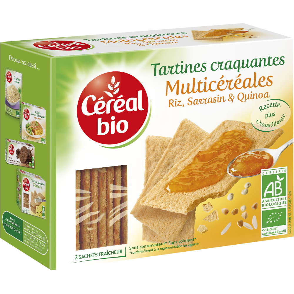 Tartines craquantes multicéréales BIO, Céréal Bio (145 g)