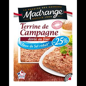 Terrine de Campagne dorée au four -25% de sel, Madrange (150 g)