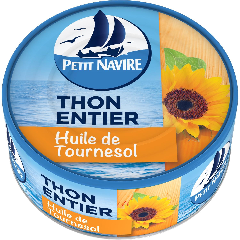 Thon entier à l'huile de tournesol, Petit Navire (160 g)