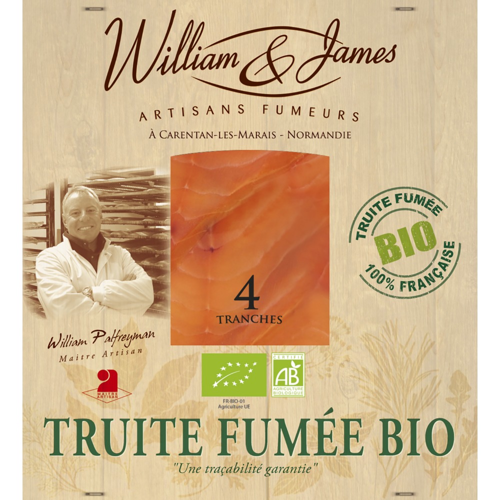 Truite fumé BIO, William et James (4 tranches, 100 g)
