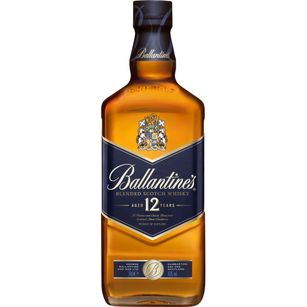 Whisky Scotch 12 ans d'âge, Ballantine's (70 cl)
