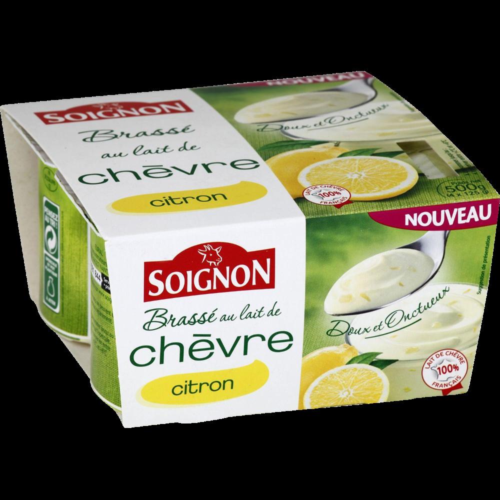 Yaourt au lait entier de chèvre morceaux de citron, Soignon (4 x 125 g)