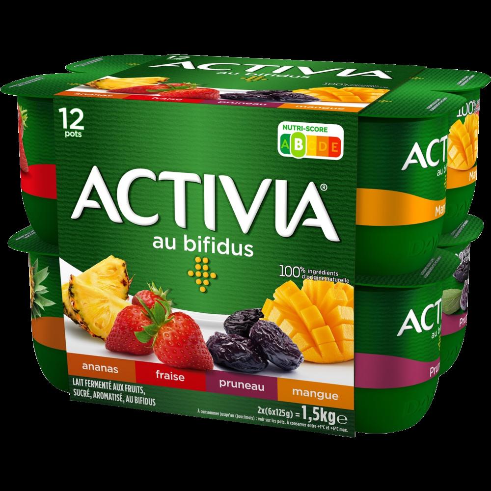 Yaourt aux fruits panaché au bifidus, Activia (12 x 125 g)