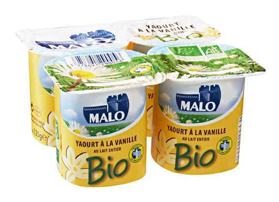 Yaourt à la vanille BIO au lait entier, Malo (4 x 125 g)