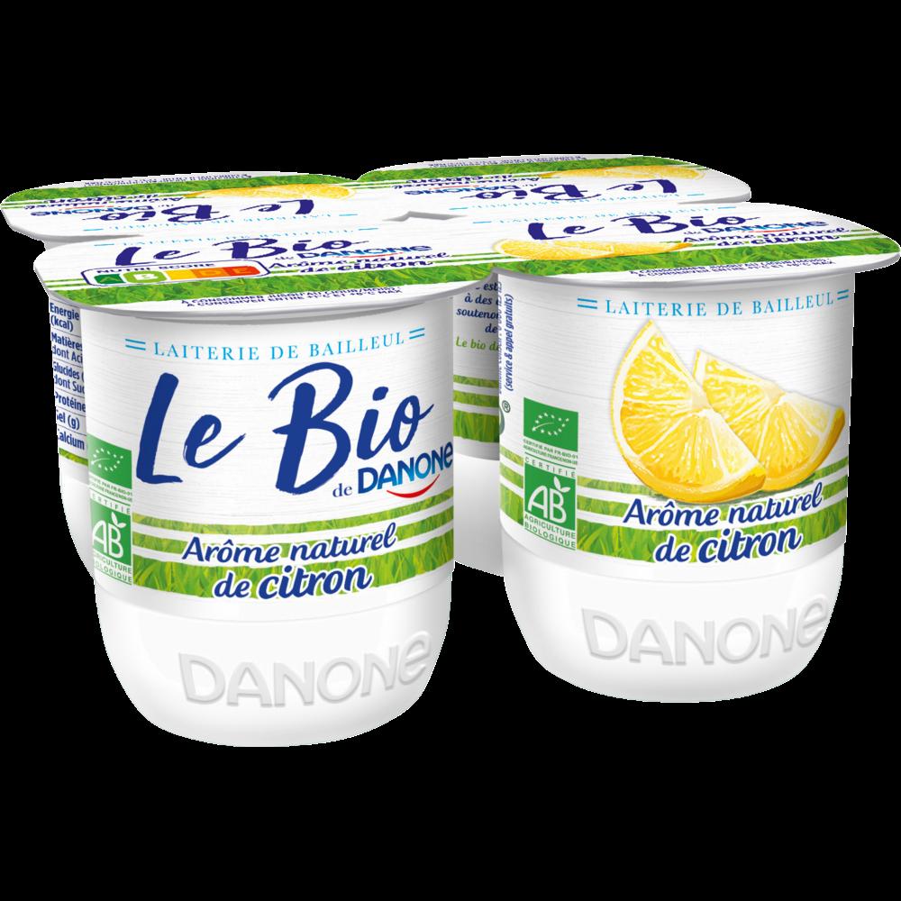 Yaourt sucré à l'arôme naturel de citron BIO, Danone (4 x 125 g)