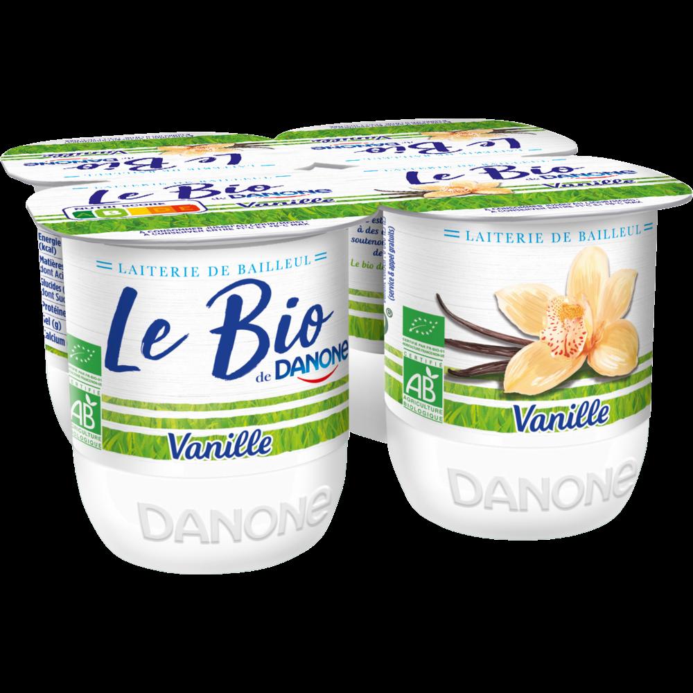Yaourt sucré à l'arôme naturel de vanille Bio, Danone (4 x 125 g)