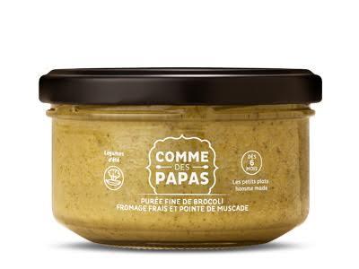 Purée fine de brocoli, fromage frais et pointe de muscade BIO - 6 mois Comme des Papas (130 g)