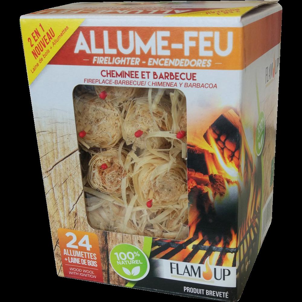 Allume feux + allumettes en laine de bois 100% naturel, Flam Up (x 24)