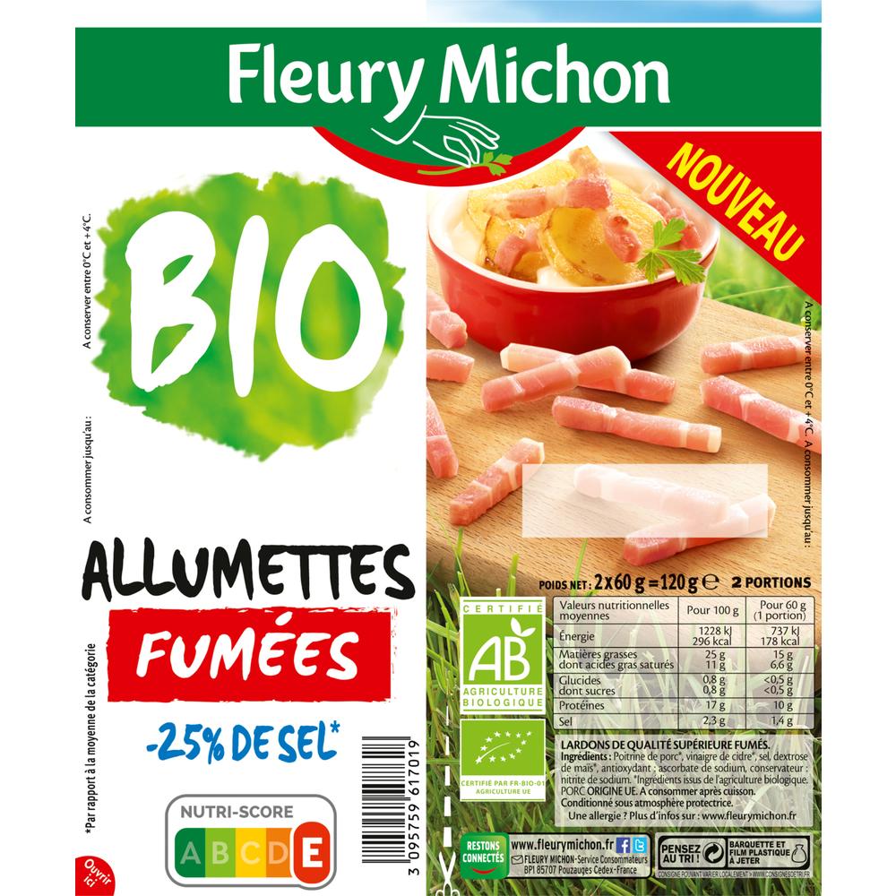 Lardons allumettes fumées -25% de sel BIO, Fleury Michon (2 x 60 g)