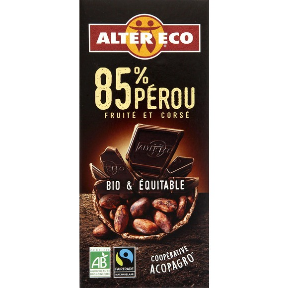 Chocolat Noir 85% Perou BIO, Alter Eco (100 g)