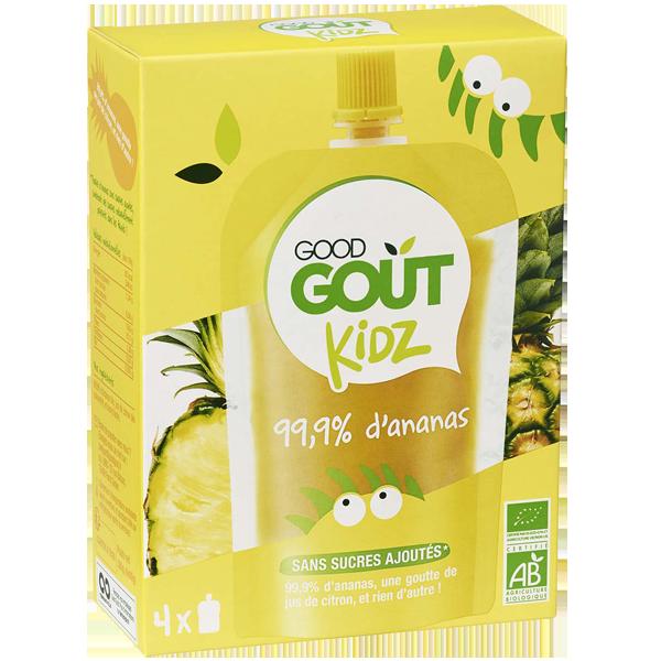 Gourdes ananas BIO - dès 3 ans, Good Goût Kid'z (4 x 90 g)