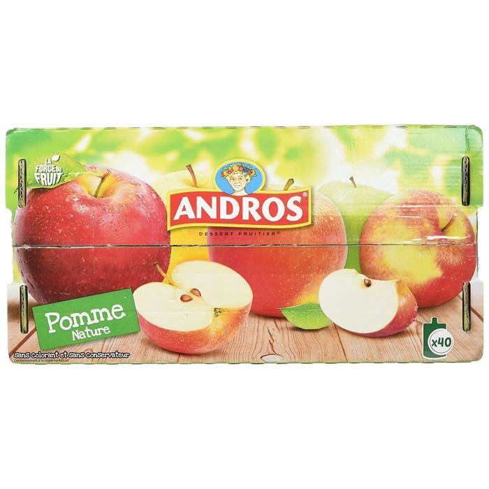 Gourdes Pom'potes Pomme Nature, Andros (12 x 90 g)