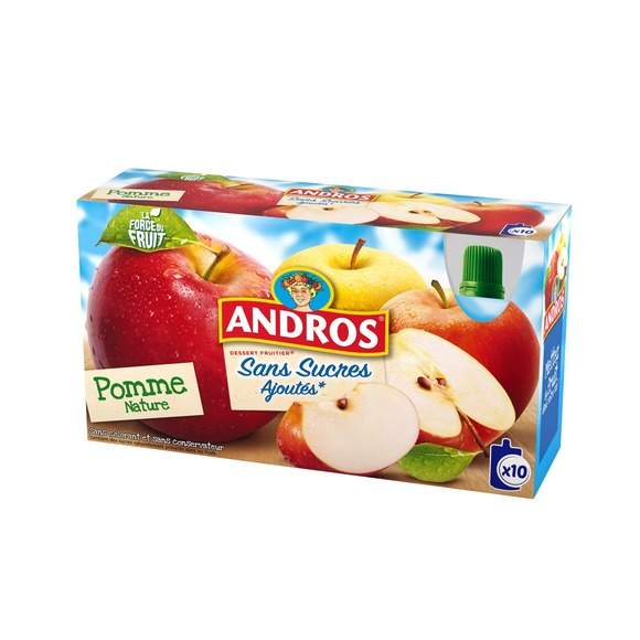 Compotes-gourde Pomme nature, Andros (10 x 90 g)