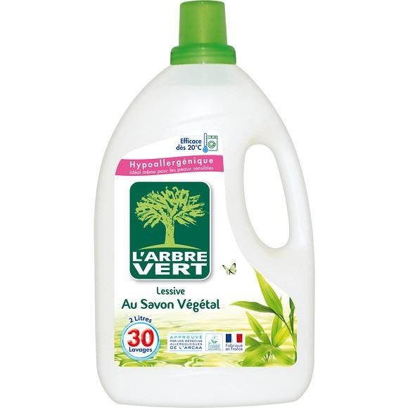 Lessive liquide écologique au savon végétal, Arbre Vert (2 L)