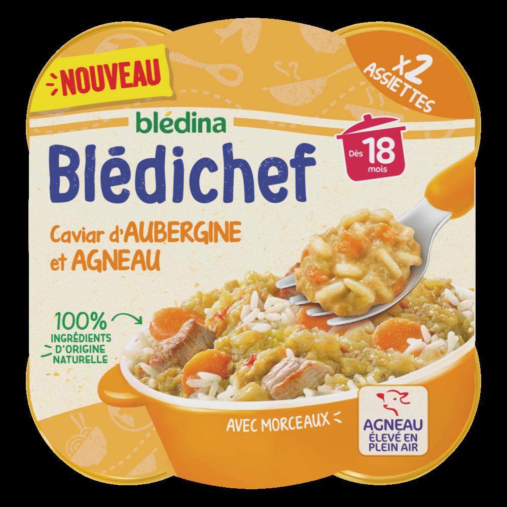 Blédichef assiette caviar d'aubergine et agneau - dès 18 mois, Blédina (2 x 250 g)