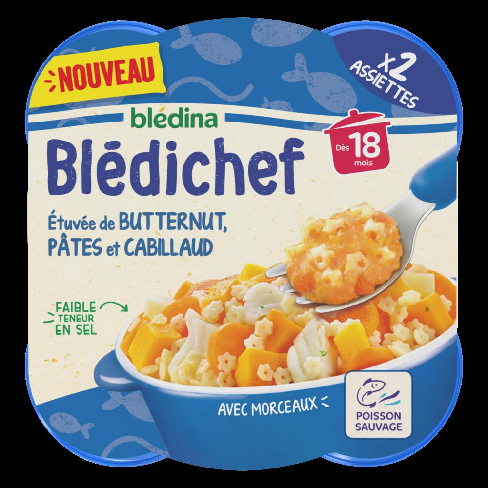 Blédichef assiette étuvée de butternut pâtes et cabillaud - dès 18 mois (2 x 230 g)