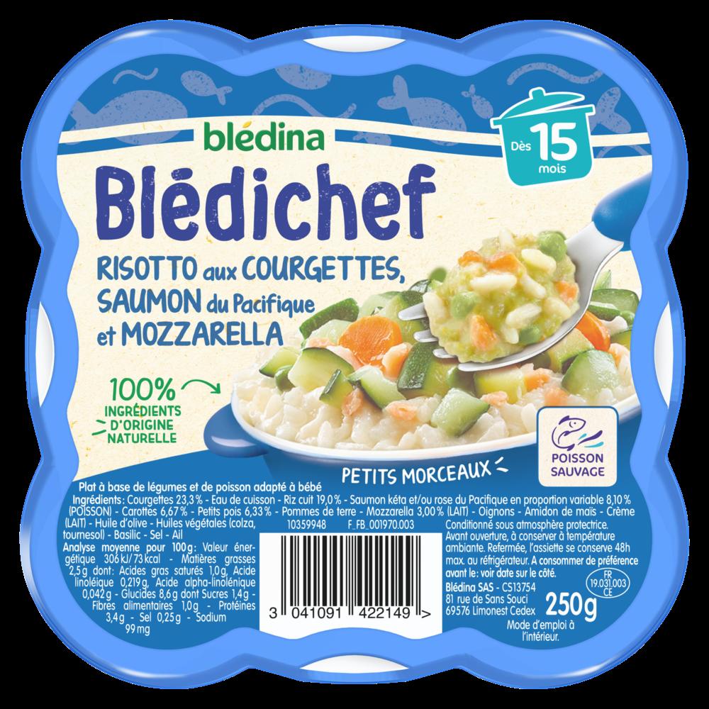 Blédichef assiette risotto aux courgettes/saumon et mozzarella - dès 15 mois, Blédina (250 g)