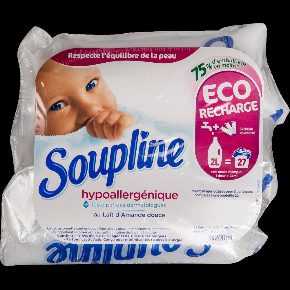 Assouplissant doses hypoallergénique, Soupline (3 x 200 ml)