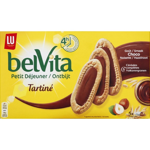 Belvita Petit déjeuner Tartiné chocolat/noisette, Lu (250 g)