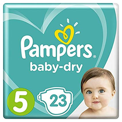 Couches Baby Dry Taille 5 / 11-16 kg, Pampers (x 23)