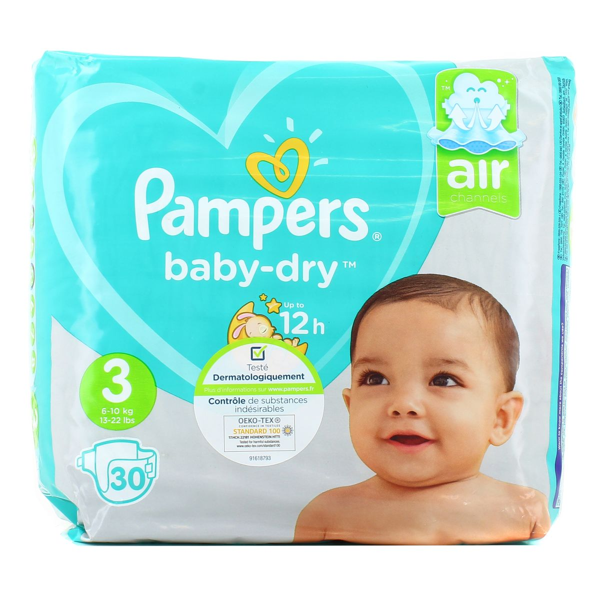 Couches Baby Dry Taille 3 / 6-10 kg, Pampers (x 30)